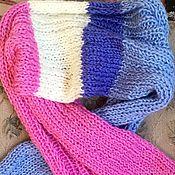Аксессуары handmade. Livemaster - original item Knitted scarf made of cashmere (pink white blue). Handmade.