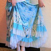 """Одежда ручной работы. Ярмарка Мастеров - ручная работа Юбка """"Морская акварель"""" бело-бирюзовая, длинная, в пол, ярусная. Handmade."""