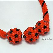 Украшения handmade. Livemaster - original item Kit orange CAVIAR (necklace, bracelet, earrings). Handmade.