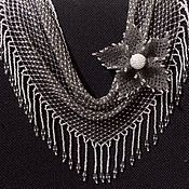 Necklace handmade. Livemaster - original item Necklace kerchief and brooch-flower beaded earrings. Handmade.