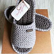 Обувь ручной работы handmade. Livemaster - original item Slippers men`s knitted 42p. Handmade.