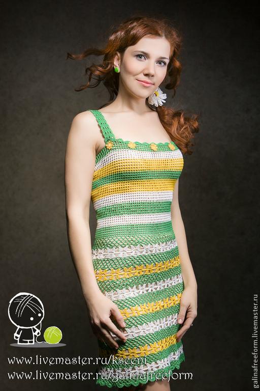 """Платья ручной работы. Ярмарка Мастеров - ручная работа. Купить Платье-сарафан """"Лютики-цветочки"""". Handmade. Зеленый, красивое платье"""