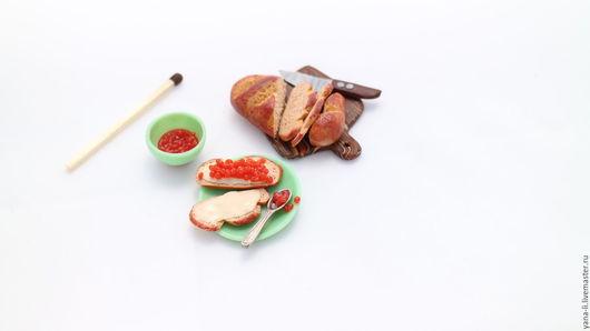 Еда ручной работы. Ярмарка Мастеров - ручная работа. Купить Миниатюрный набор еды из полимерной глины, масштаб 1:12. Handmade.