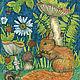 Животные ручной работы. Принт Маленький бельчонок в лесу. Авторская картина для интерьера. Добрые акварели (yovin). Ярмарка Мастеров.