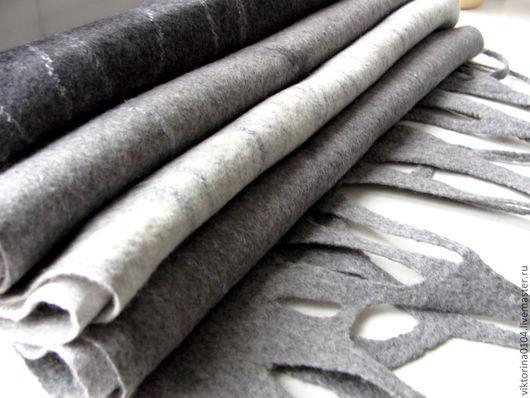 """Шали, палантины ручной работы. Ярмарка Мастеров - ручная работа. Купить Палантин валяный """"Лондон"""". Handmade. Серый, волокна вискозы"""