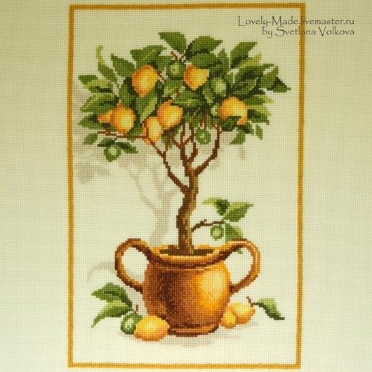 Картины цветов ручной работы. Ярмарка Мастеров - ручная работа. Купить Лимонное дерево. Ручная вышивка крестом. Handmade. лимонный