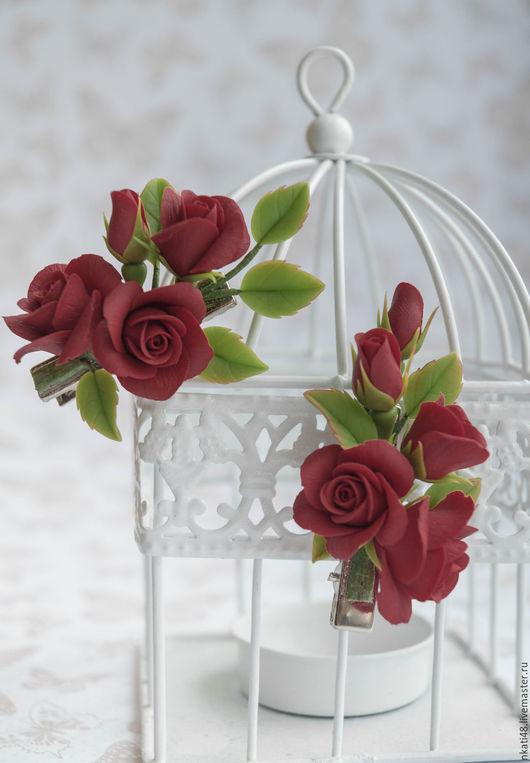 Заколки ручной работы. Ярмарка Мастеров - ручная работа. Купить Миниатюрные зажимы с розами. Handmade. Ярко-красный, зажим с цветами