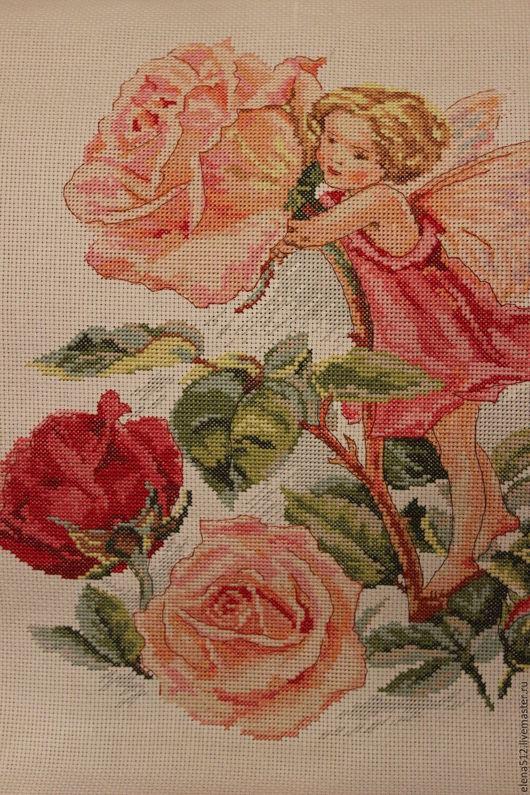 """Картины цветов ручной работы. Ярмарка Мастеров - ручная работа. Купить Вышивка крестом """"Фея розового сада"""". Handmade."""