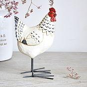 Для дома и интерьера handmade. Livemaster - original item Chicken Provence made of concrete with painting on metal legs. Handmade.