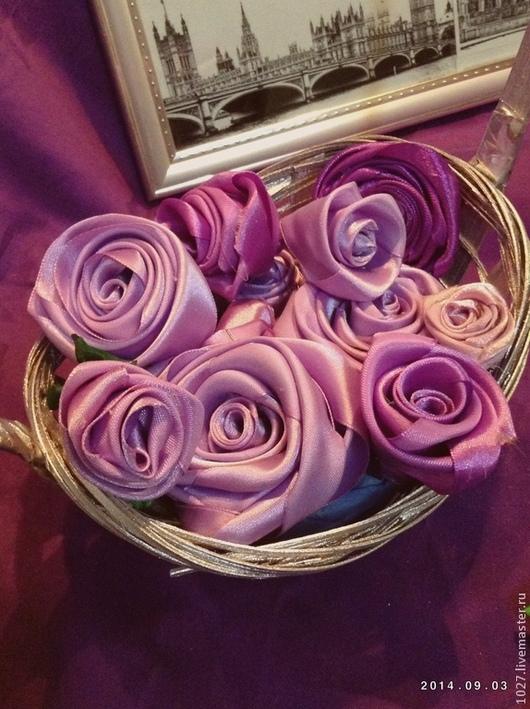 Цветы ручной работы. Ярмарка Мастеров - ручная работа. Купить Розы из атласных лент. Handmade. Розы, цветы, высокое качество
