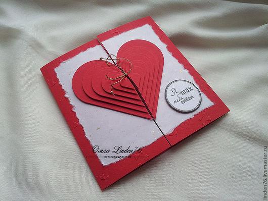 """Валентинки ручной работы. Ярмарка Мастеров - ручная работа. Купить открытка""""Я тебя люблю!"""". Handmade. Ярко-красный, подарок мужчине"""