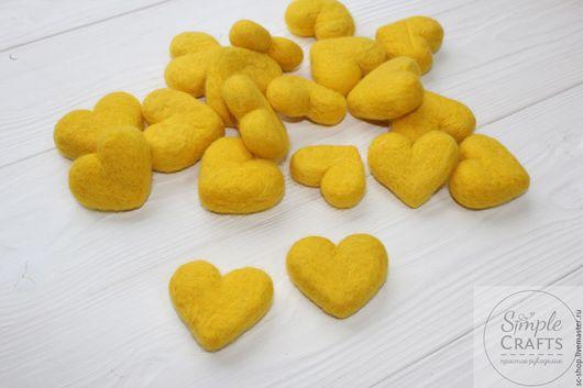 Валяние ручной работы. Ярмарка Мастеров - ручная работа. Купить Войлочное сердечко желтое  (сердце из шерсти). Handmade. Шерсть, войлок
