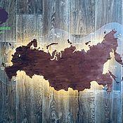 Сувениры и подарки handmade. Livemaster - original item Map of Russia with illumination, on glass.. Handmade.