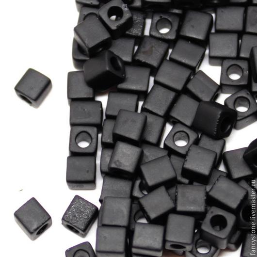 Для украшений ручной работы. Ярмарка Мастеров - ручная работа. Купить MIYUKI Square Matte Black  401 F 3 mm Бисер Миюки Кубики 10гр.. Handmade.