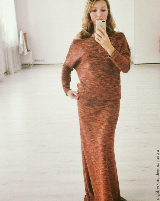 """Платья ручной работы. Ярмарка Мастеров - ручная работа. Купить """"Лисий костюм"""". Handmade. Рыжий, вязанное платье, летучая мышь"""