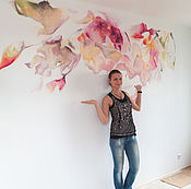 Дизайн и реклама handmade. Livemaster - original item Art painting of walls Abstraction watercolor to order in SPb. Handmade.