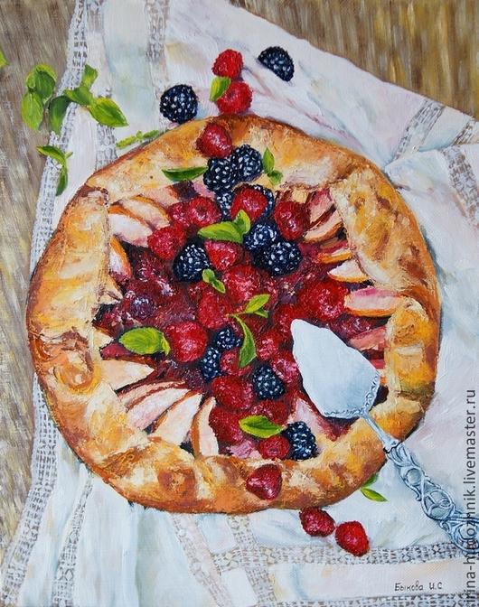 Натюрморт ручной работы. Ярмарка Мастеров - ручная работа. Купить Сладкая жизнь. Handmade. Пирог, ягоды, натюрморт, яркий, яблоки