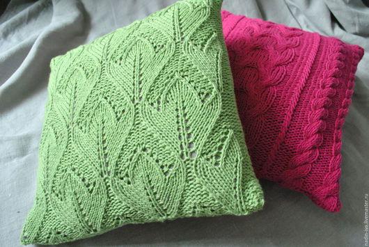 Текстиль, ковры ручной работы. Ярмарка Мастеров - ручная работа. Купить Подушка декоративная. Handmade. Салатовый, вязаная подушка