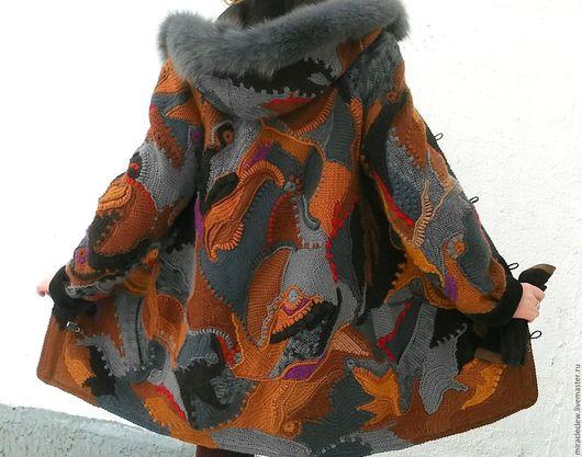 Верхняя одежда ручной работы. Ярмарка Мастеров - ручная работа. Купить пальто зимнее крючком, в стиле фриформ. Handmade. Пальто