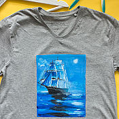 Одежда ручной работы. Ярмарка Мастеров - ручная работа Мужская Футболка с росписью Лунный корабль. Handmade.