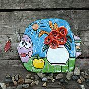 Картины ручной работы. Ярмарка Мастеров - ручная работа Рыба и натюрморт. Керамическое панно . Ручная работа. Handmade.