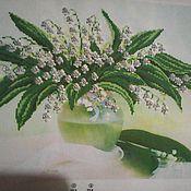 """Картины и панно handmade. Livemaster - original item Bead embroidery """"Lilies of the valley"""". Handmade."""