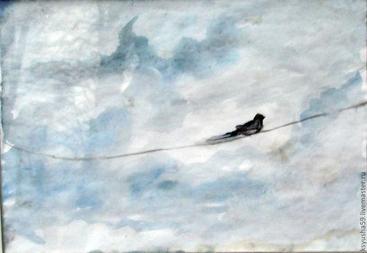 Пейзаж ручной работы. Ярмарка Мастеров - ручная работа. Купить Ласточка смотрит в небо.. Handmade. Голубой, счастье, картина