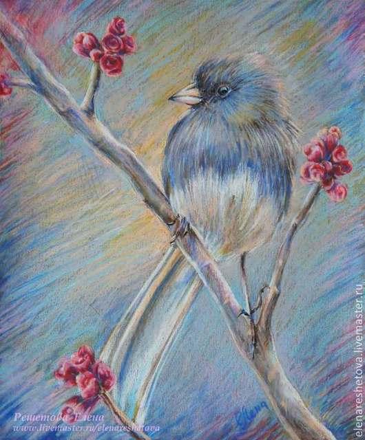 Пастель картина `Розочковая птичка`. Красивая природа, красивая птичка. Ветка с цветами. Купить рисунок. Картина в подарок. Подарок подруге.