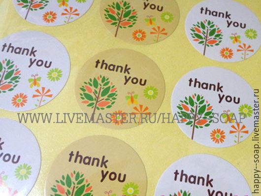 """Упаковка ручной работы. Ярмарка Мастеров - ручная работа. Купить Наклейка-стикер """"THANK YOU"""".. Handmade. Наклейки, этикетки, стикеры"""