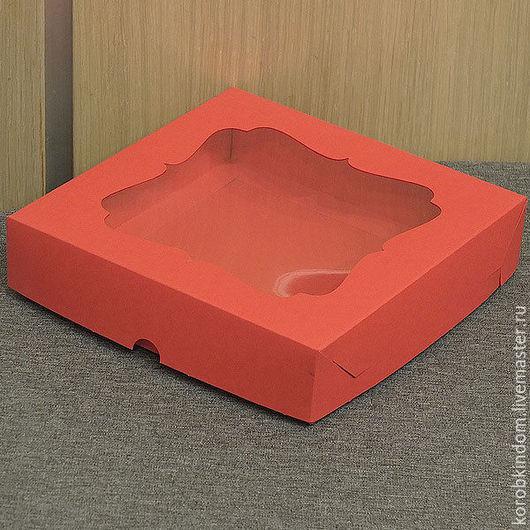Упаковка ручной работы. Ярмарка Мастеров - ручная работа. Купить Коробка 16х16х3,5 с окном крышка-дно красная. Handmade.