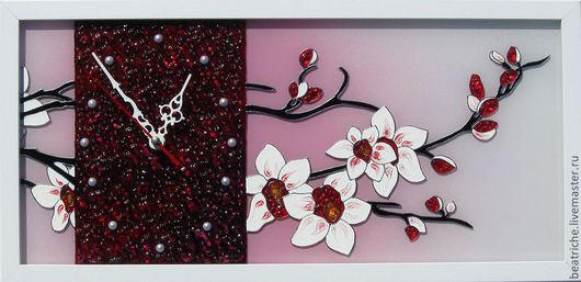 """Часы для дома ручной работы. Ярмарка Мастеров - ручная работа. Купить Авторские часы """"Ветка орхидеи"""". Handmade. Подарок девушке"""