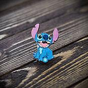 Украшения handmade. Livemaster - original item Wood badge Stitch. Handmade.