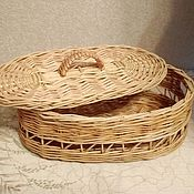 Для дома и интерьера handmade. Livemaster - original item Oval basket from willow twigs with lid. Handmade.