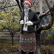 Одежда handmade. Livemaster - original item Skirt woolen knitted. Skirt camel yarn. Skirt hook. Handmade.
