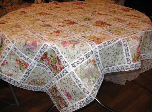 """Кухня ручной работы. Ярмарка Мастеров - ручная работа. Купить Скатерть """"квадраты и кружево"""". Handmade. Скатерть, цветы, красивая"""