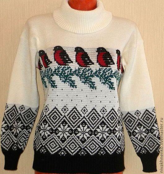 Кофты и свитера ручной работы. Ярмарка Мастеров - ручная работа. Купить Вязаный свитер Снегири. Handmade. Чёрно-белый