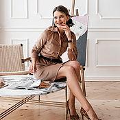 handmade. Livemaster - original item Camel corduroy cotton Safari dress, beige corduroy dress. Handmade.