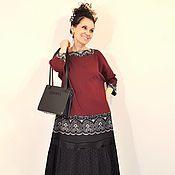 Одежда ручной работы. Ярмарка Мастеров - ручная работа Платье Джульетт Гранд Марсала 2  с гипюром миди. Handmade.