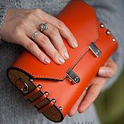 Сумки и аксессуары handmade. Livemaster - original item Leather and wood Ginger clutch bag. Handmade.