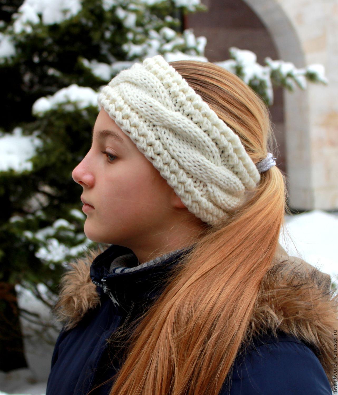 Теплая вязаная повязка на голову, Повязки, Москва,  Фото №1