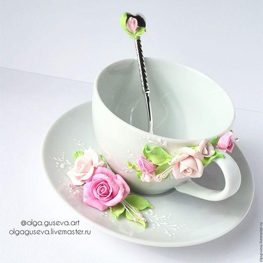 """Кружки и чашки ручной работы. Ярмарка Мастеров - ручная работа. Купить Чайная пара  """"Цветочное чаепитие 2"""" (чашка, блюдце). Handmade."""