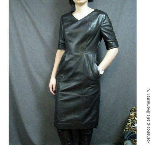Платья ручной работы. Ярмарка Мастеров - ручная работа. Купить Оригинальное коричневое кожаное платье на каждый день. Handmade. Коричневый