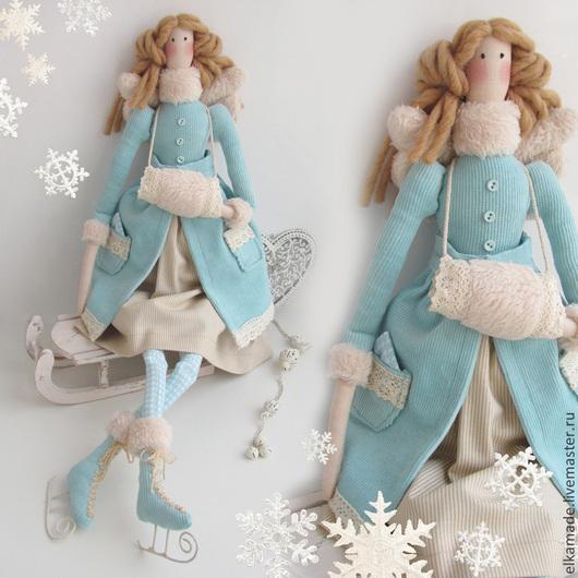 Куклы Тильды ручной работы. Ярмарка Мастеров - ручная работа. Купить Интерьерна кукла Барышня на конёчках. Handmade. Мятный, бежевый
