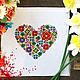 """Вышивка ручной работы. Ярмарка Мастеров - ручная работа. Купить Схема для вышивания крестом """"Цветочное сердце"""". Handmade. Схема для вышивки"""