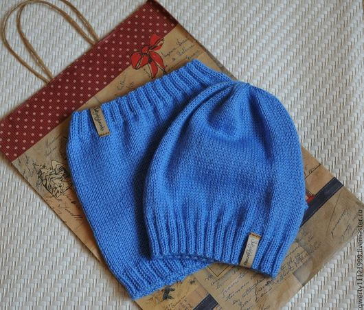 """Шапки и шарфы ручной работы. Ярмарка Мастеров - ручная работа. Купить Комплект """"Sky"""" шапка-колпак(чулок, носок, бини) и снуд. Handmade."""