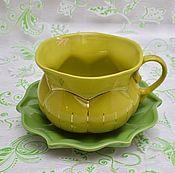 """Посуда ручной работы. Ярмарка Мастеров - ручная работа Кофейная пара """"Тыква"""" салатовая. Handmade."""