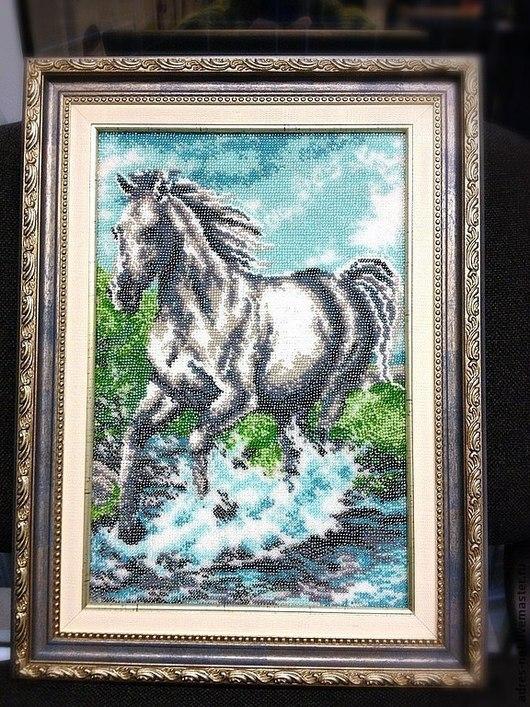 """Животные ручной работы. Ярмарка Мастеров - ручная работа. Купить """"Неудержимая"""" - вышивка бисером, картина. Handmade. Конь, подарки на новый год"""