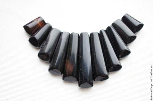 Для украшений ручной работы. Ярмарка Мастеров - ручная работа. Купить Оникс черный набор для колье от 14х10 мм до 34х10 мм. Handmade.