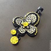 Материалы для творчества handmade. Livemaster - original item Pendant with pendants art. 7-69 with yellow crystals and rhodium on. Handmade.