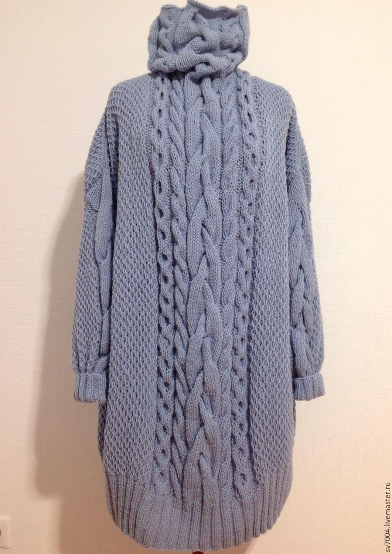 """Большие размеры ручной работы. Ярмарка Мастеров - ручная работа. Купить Платье - свитер """"небо """". Handmade. Голубой"""